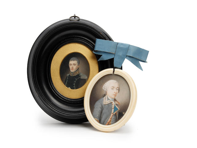 Circle of Jeremiah Meyer, RA (British, 1735-1789) A portrait miniature of Mr. Lessing, possibly wearing a naval uniform