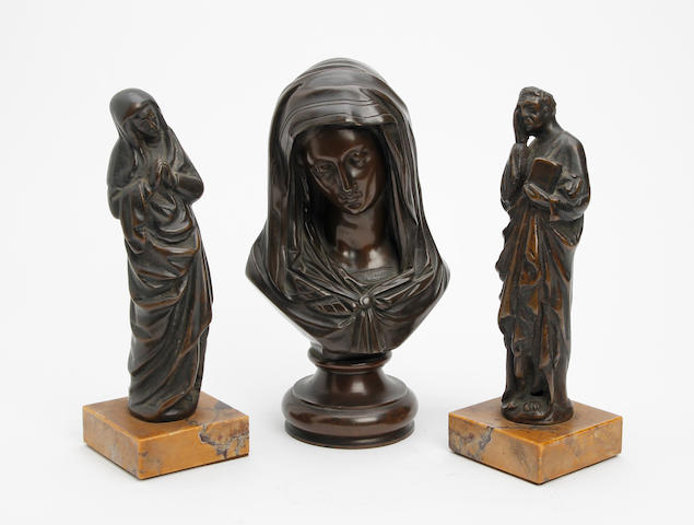 After Victor Evrard (French, 1807-circa 1877) A bronze model of the Madonna
