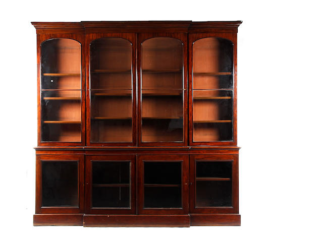 A large Victorian mahogany breakfront library bookcase