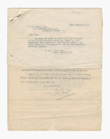 ELIOT (T.S.) Correspondence with his publisher Methuen & Co, arranging for publication of The Sacred Wood, 1920