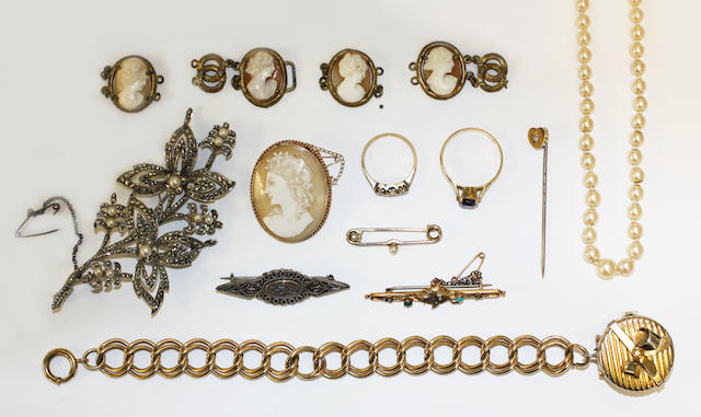 Jewellery to include:- cultured pearls; amethyst set ring; diamond point ring, one missing; 3 brooches; diamond set stickpin; bracelet with watch charm; cameo brooch; 4 loose cameos; marcasite brooch