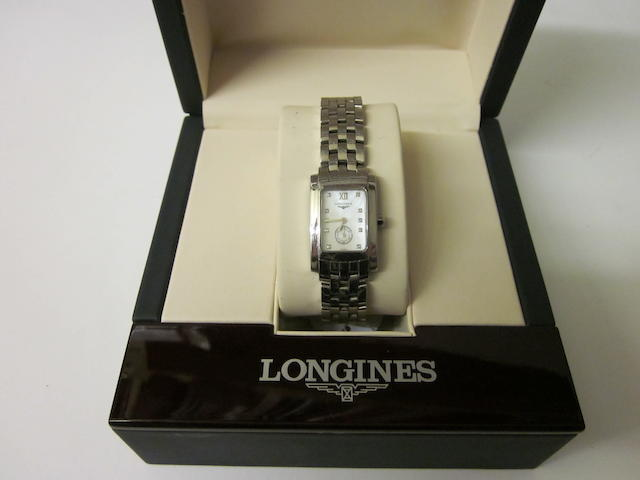Longines: A lady's stainless steel bracelet watch,