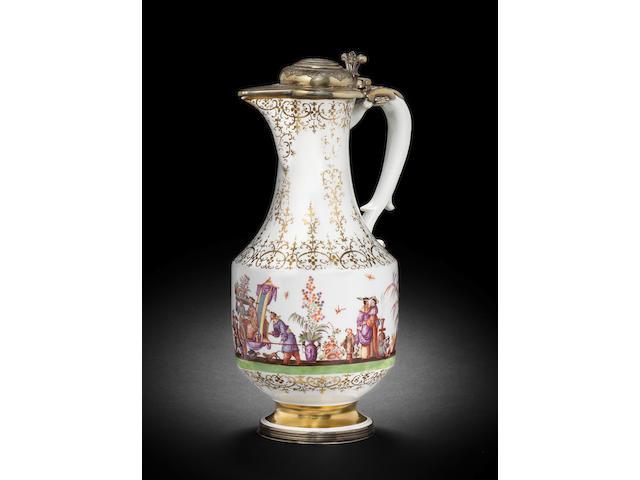A very rare Meissen silver-gilt-mounted ewer, circa 1728