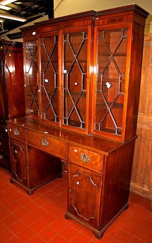 A mahogany boxwood strung secretaire bookcase, 19th Century and later