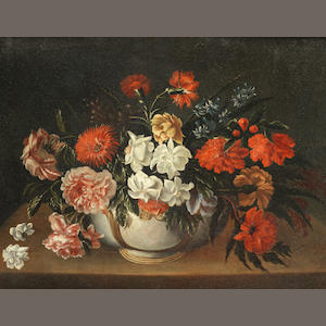 Italian School, circa 1800 Roses, carnations and other flowers in a porcelain vase on a table; and   (2)