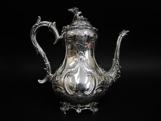 A Victorian silver baluster coffee pot by Martin, Hall & Co., London 1881