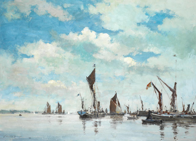 "Edward Seago, ""Before the Barge Race Pin Mill, 25 1/2x35 in. Prov: Richard Green"