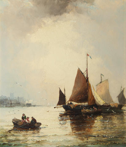 Hubert Thornley (British, 1858-1898) Fishing boats in a harbour
