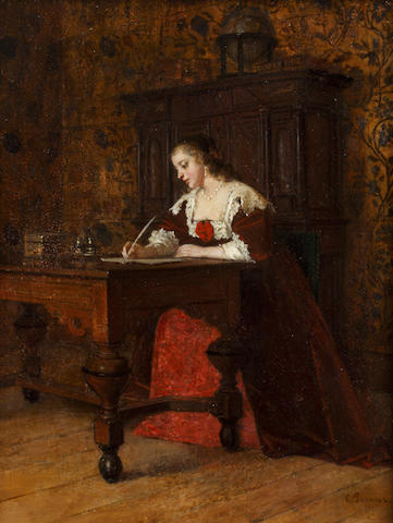 Charles François Pecrus (French, 1826-1907) Lady writing a letter