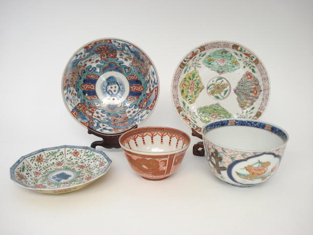A selection of enamelled ceramics 18th century and later