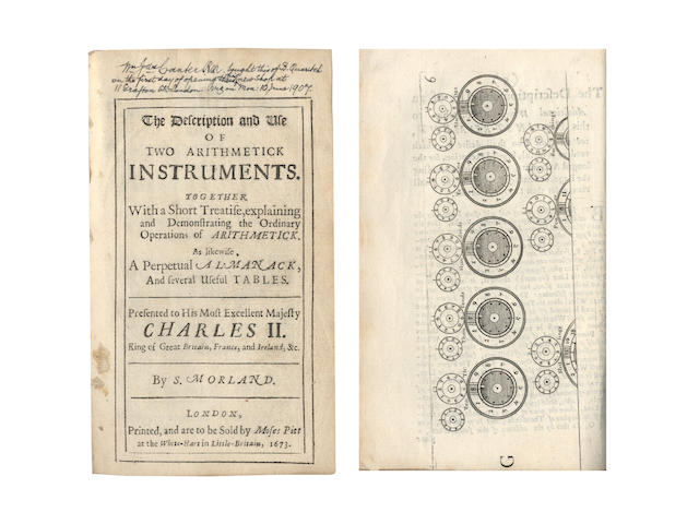 MORLAND (SAMUEL) The Description and Use of Two Arithmetick Instruments