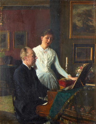 August Andreas Jerndorff (Danish, 1846-1906) Actor Peter Jerndorff and his wife Amalie at the piano