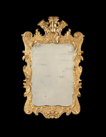 A George III Irish carved giltwood wall mirror