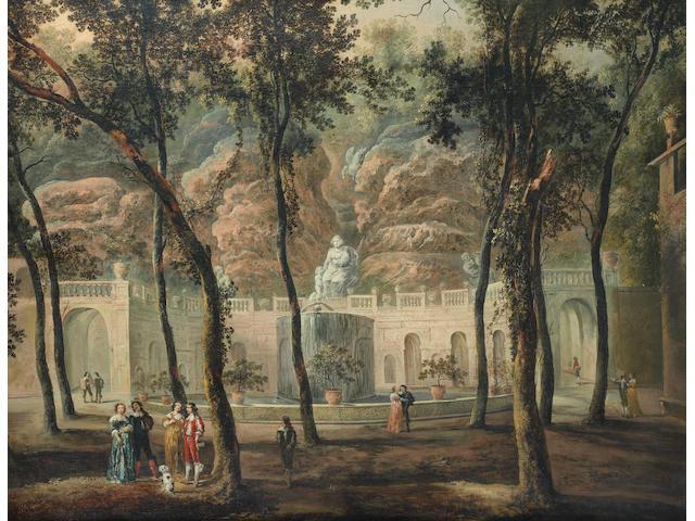 German School, circa 1800 Elegant figures conversing in an ornamental garden