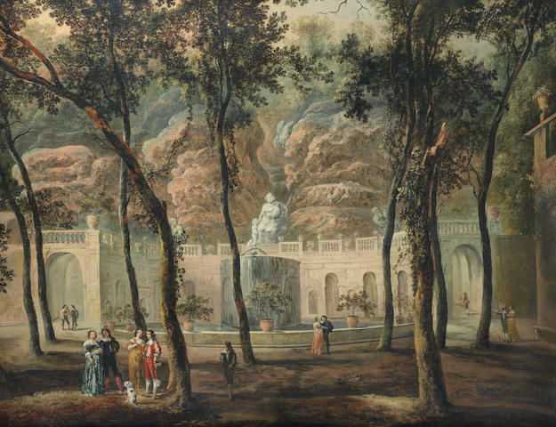 German School, circa 1800 Elegant figures conversing in an ornamental garden