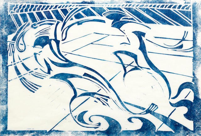 Cyril Edward Power (British, London 1872-1951) Tennis Linocut printed in permanent blue, c.1933, on buff oriental laid tissue, a trial proof from the first block before the published edition of 60 printed in chrome yellow, spectrum red and permanent blue, with margins, 182 x 266mm (7 1/4 x 10 1/2in)(B)