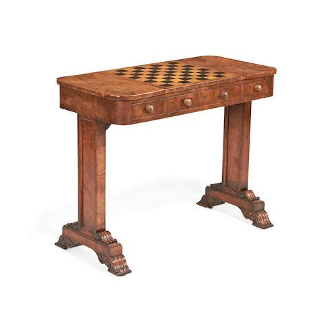 A George IV pollard oak games table in the manner of Morel & Seddon