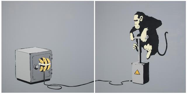 Banksy (British, born 1975) Monkey Detonator Diptych 2002