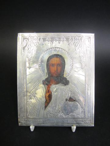 A Russian silver mounted icon marks poorly struck, circa 1880