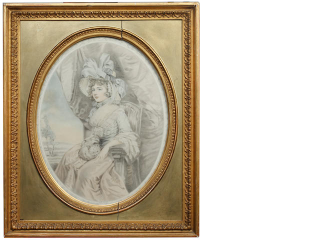 Four 19th Century stipple engravings, depicting ladies of fashion, gilt framed oval
