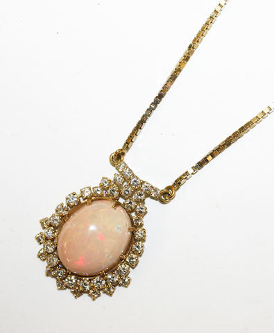 An opal and diamond pendant,