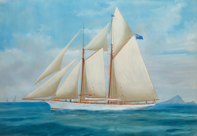 A. de Simone, late 19th/early 20th Century A racing yacht; and companion