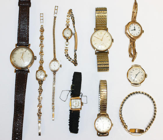 Ten various gold cased watches,