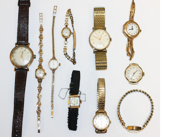 10 various gold cased watches,
