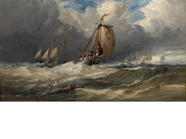 Arthur Joseph Meadows (British, 1843-1907) Fishing vessels in rough weather