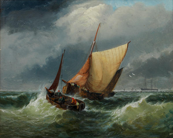 Dutch School (19th century) Fishing boats at sea
