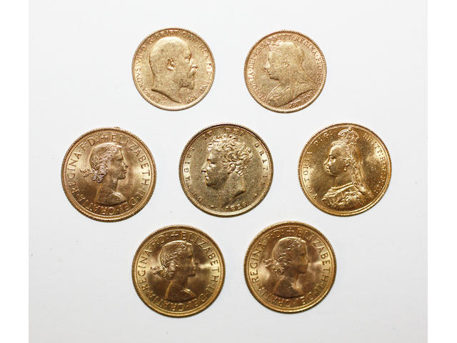 A George IV sovereign, four further sovereigns and two half sovereigns, (7)