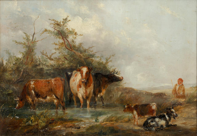 Continental School, 19th Century Boy tending goats and cattle by a pond
