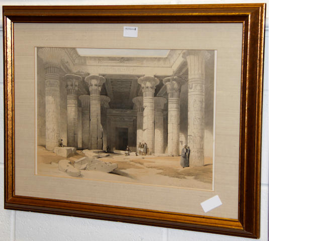 David Roberts, RA (British, 1796-1864) Grand Portico of the Temple of Philae, Nubia Lithograph, and 3 other David Roberts lithographs - 'Remains of the Portico of the Temple of Kom Obo', 'The Facade of the Temple of Hathar at Dendera', and 'The Ruins of the Memnonium, Thebes' 34 x 49cm.