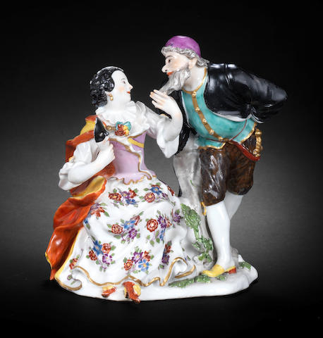 A Meissen group of Pantalone and Colombine circa 1741