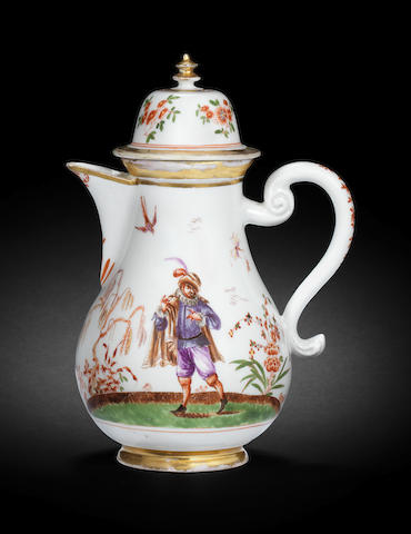 An extremely rare Meissen hot water jug and cover, circa 1722-23