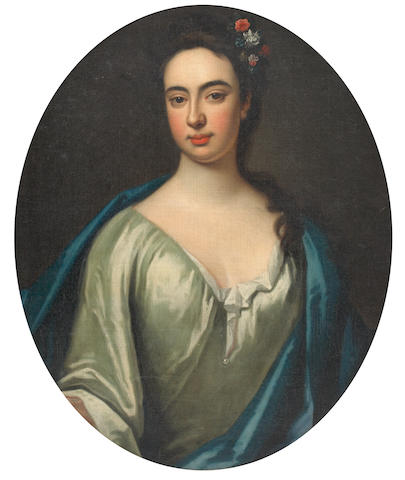 English School (late 18th century) Portrait of a lady, with blue cloak and flower trimmed hair