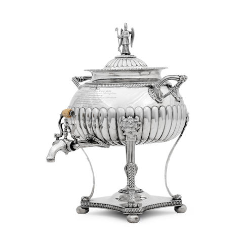 A George III silver twin handled tea urn By John Cowie, London 1814