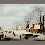 Flemish School, Attributed to A. C. Van Opstal (1851) A Dutch winter landscape with skaters