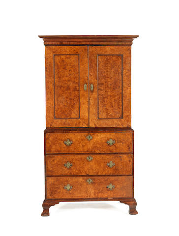 A burr ash and walnut secretaire cabinet on chest