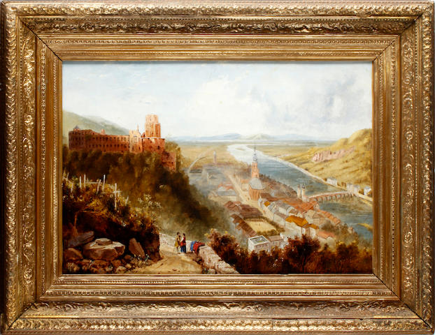 Continental School, late 19th Century Extensive town and river landscape