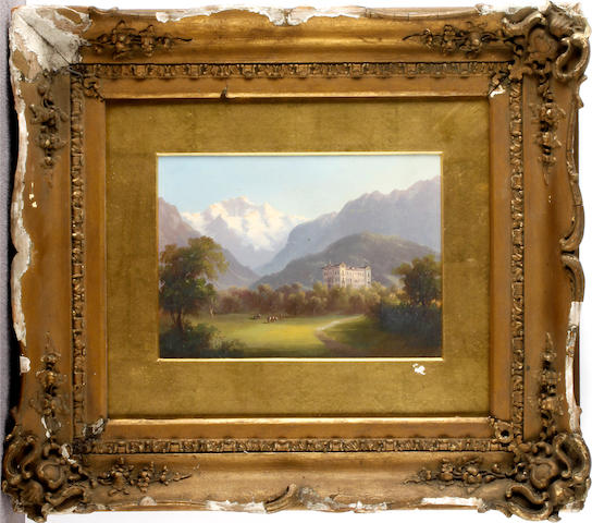 Continental School, late 19th Century Alpine scene with Chateau