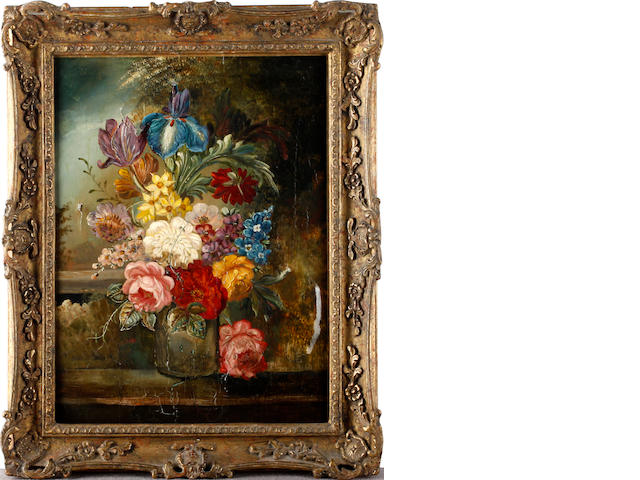 Continental School, 19th Century Still life of flowers in a jar