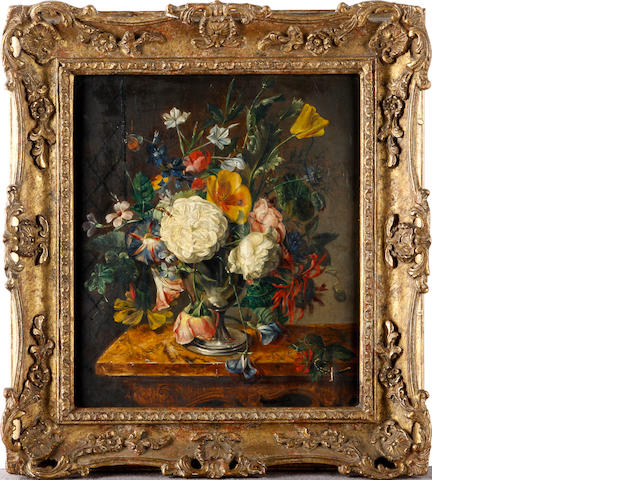 Dutch School, 19th Century Still life of flowers on a marble topped table