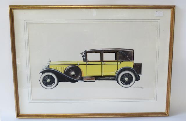 A Minerva Coachbuilder's painting by P. Dumont,