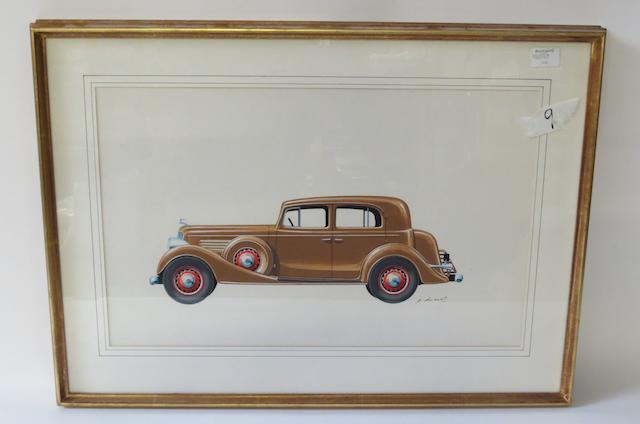 A painting of a 1930s American motor car by P. Dumont,