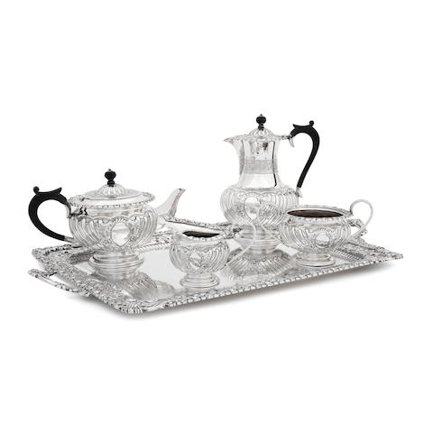 A late Victorian four piece silver tea service and tray by Barraclough & Sons, Sheffield 1894