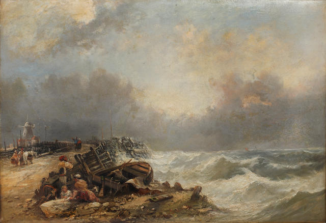 Dutch School (19th century) Fisherfolk on the shore by a tempestuous sea; and companion