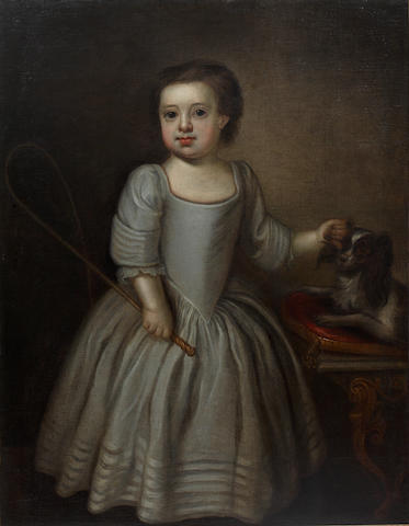 English School, 18th Century Full length portrait of a child with a spaniel