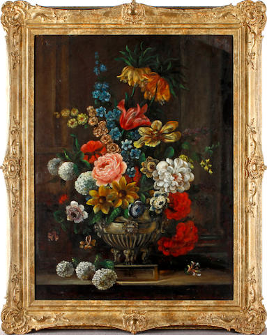English School, 19th Century Still life of flowers in a vase