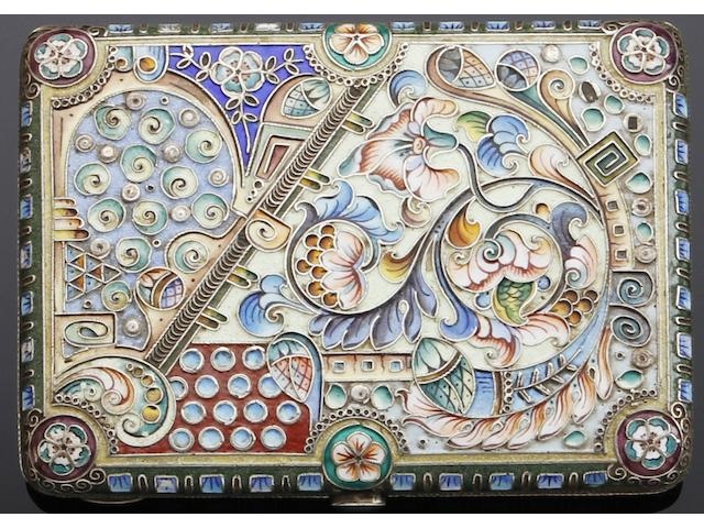 A Russian silver and enamel cigarette case by KC, untraced, Moscow 1908-1926